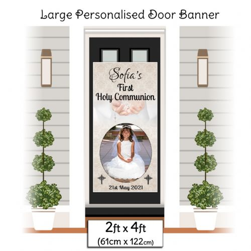 Personalised Holy Communion Door PHOTO Poster Banner ~ Girls Boys N24